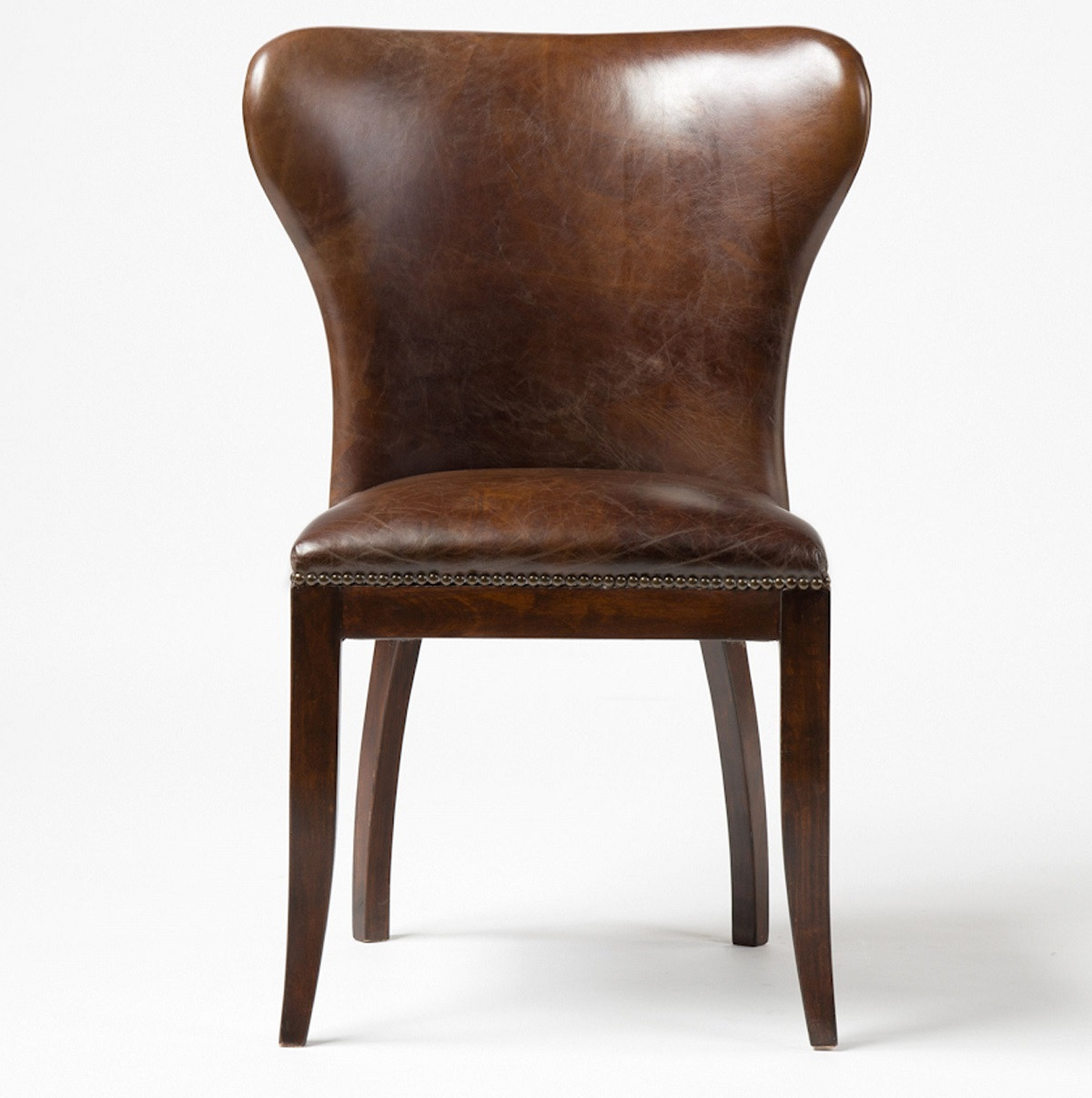 Richmond Vintage Tan Leather Wingback Dining Chair Zin Home