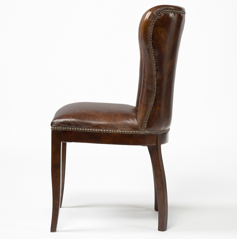 Richmond vintage tan leather wingback dining chair zin home for Dining room wingback chairs