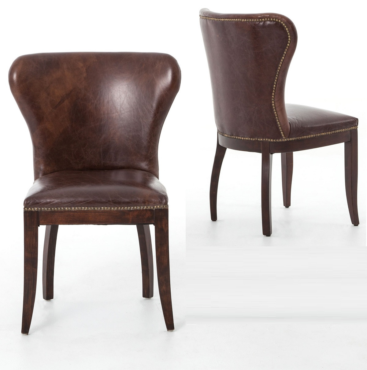 Vintage Leather Dining Chairs richmond vintage tan leather wingback dining chair | zin home
