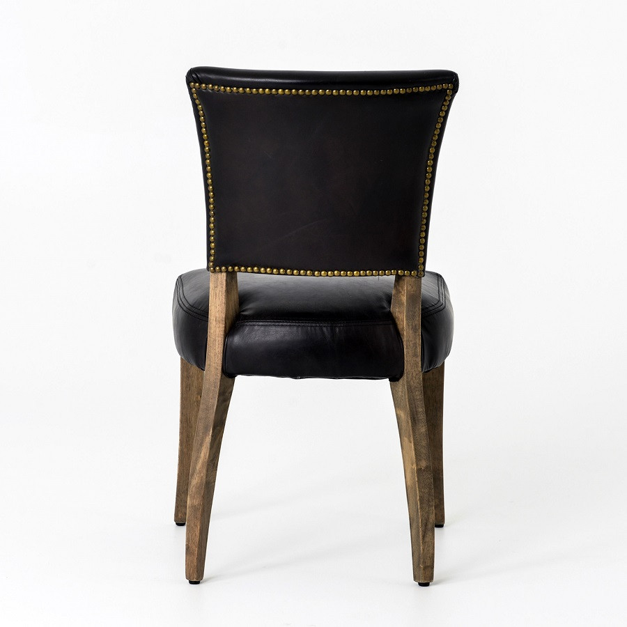 Black Leather Kitchen Chairs: Mimi Saddle Black Leather Dining Chair