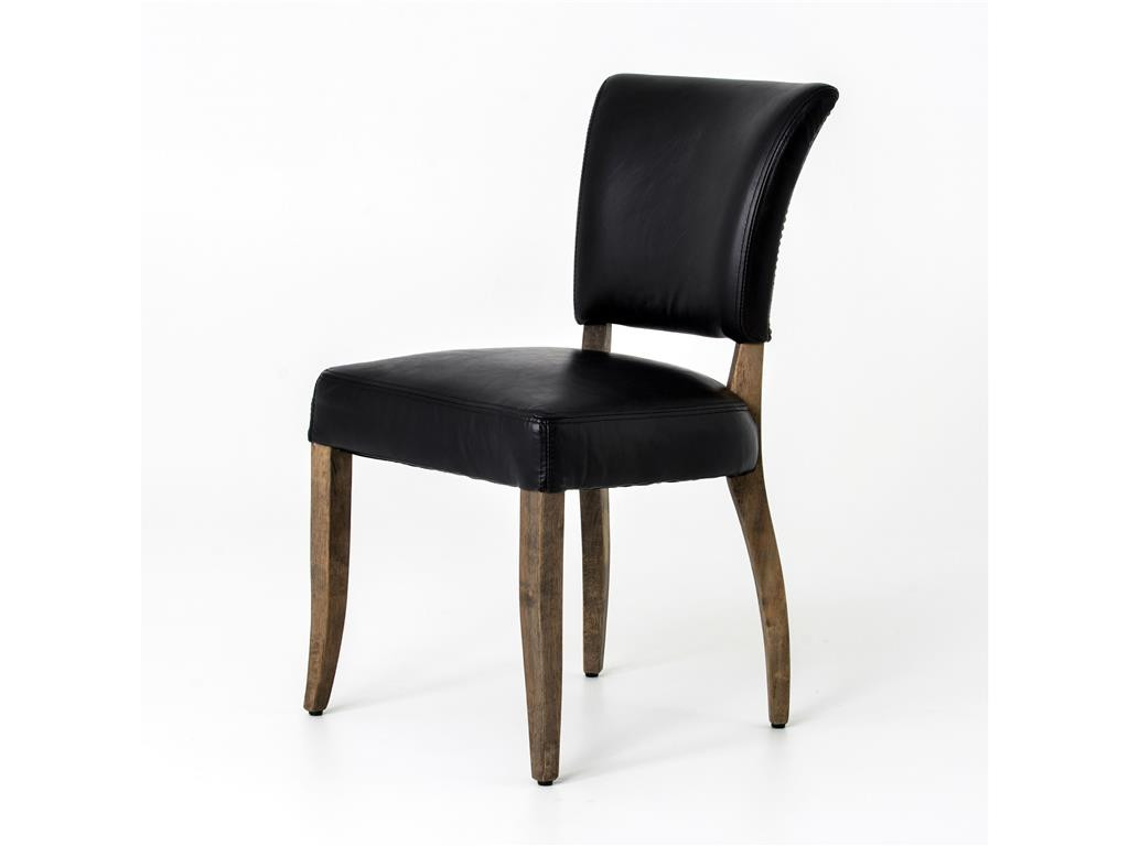 black leather dining room chairs | Mimi Saddle Black Leather Dining Chair | Zin Home