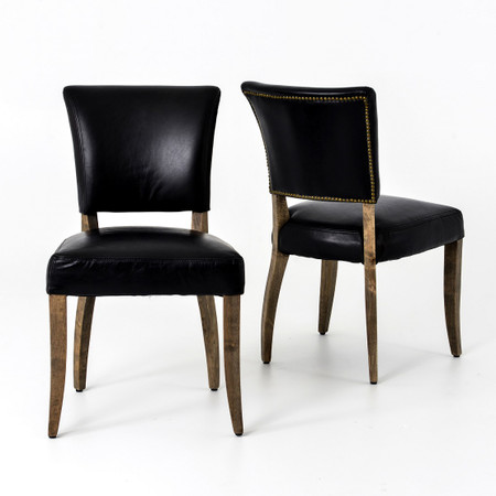 Mimi Saddle Black Leather Dining Chair