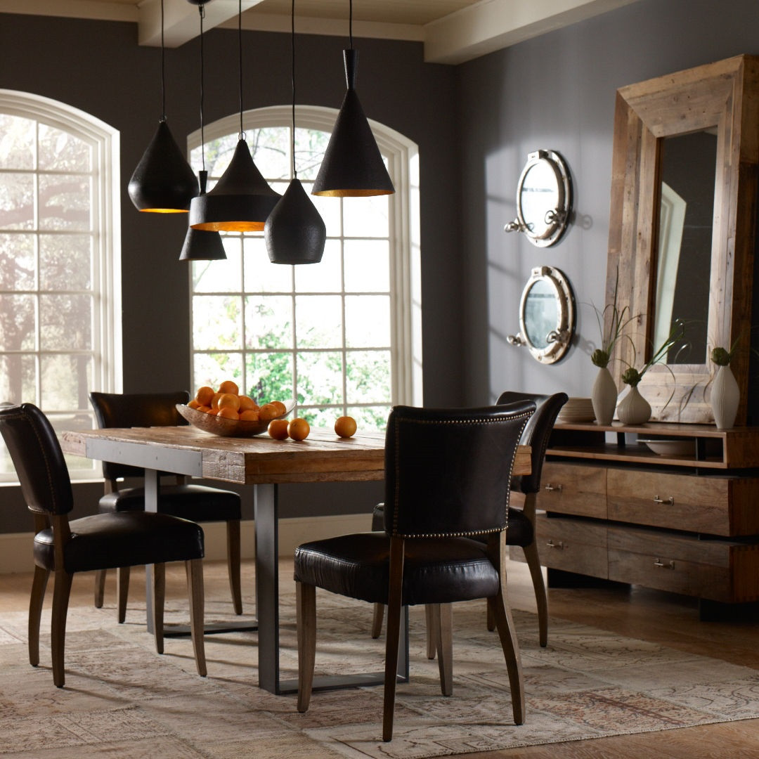 mimi saddle black leather dining chair zin home. Black Bedroom Furniture Sets. Home Design Ideas
