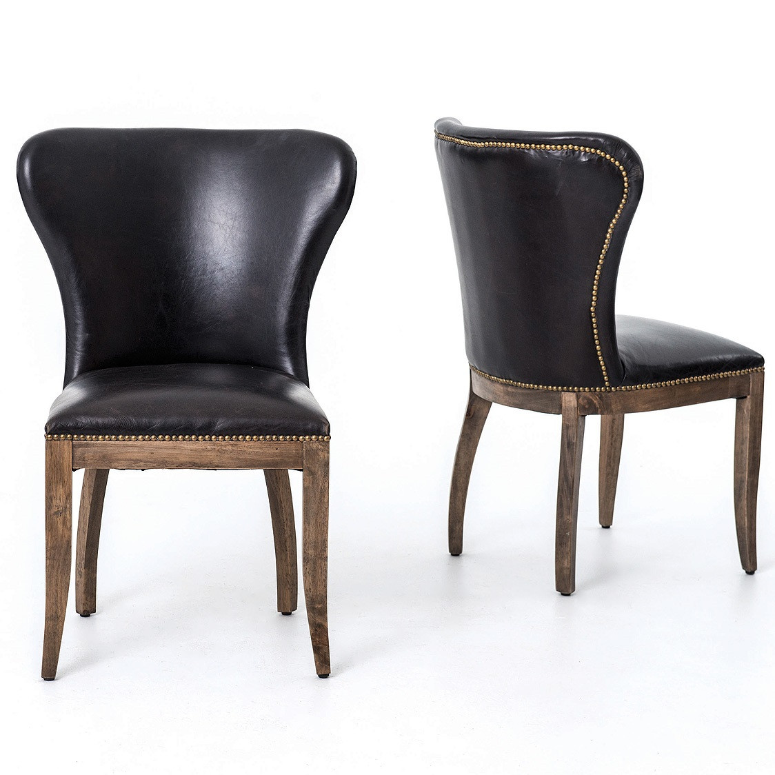 Richmond black leather wingback dining chair with for Black leather dining chairs