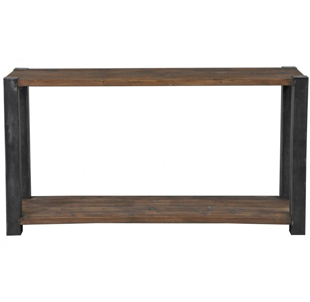 reclaimed wood jaden console table   zin home -  rustic wood and metal console table with shelf