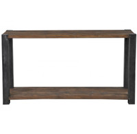 Rustic Wood and Metal Console table with shelf