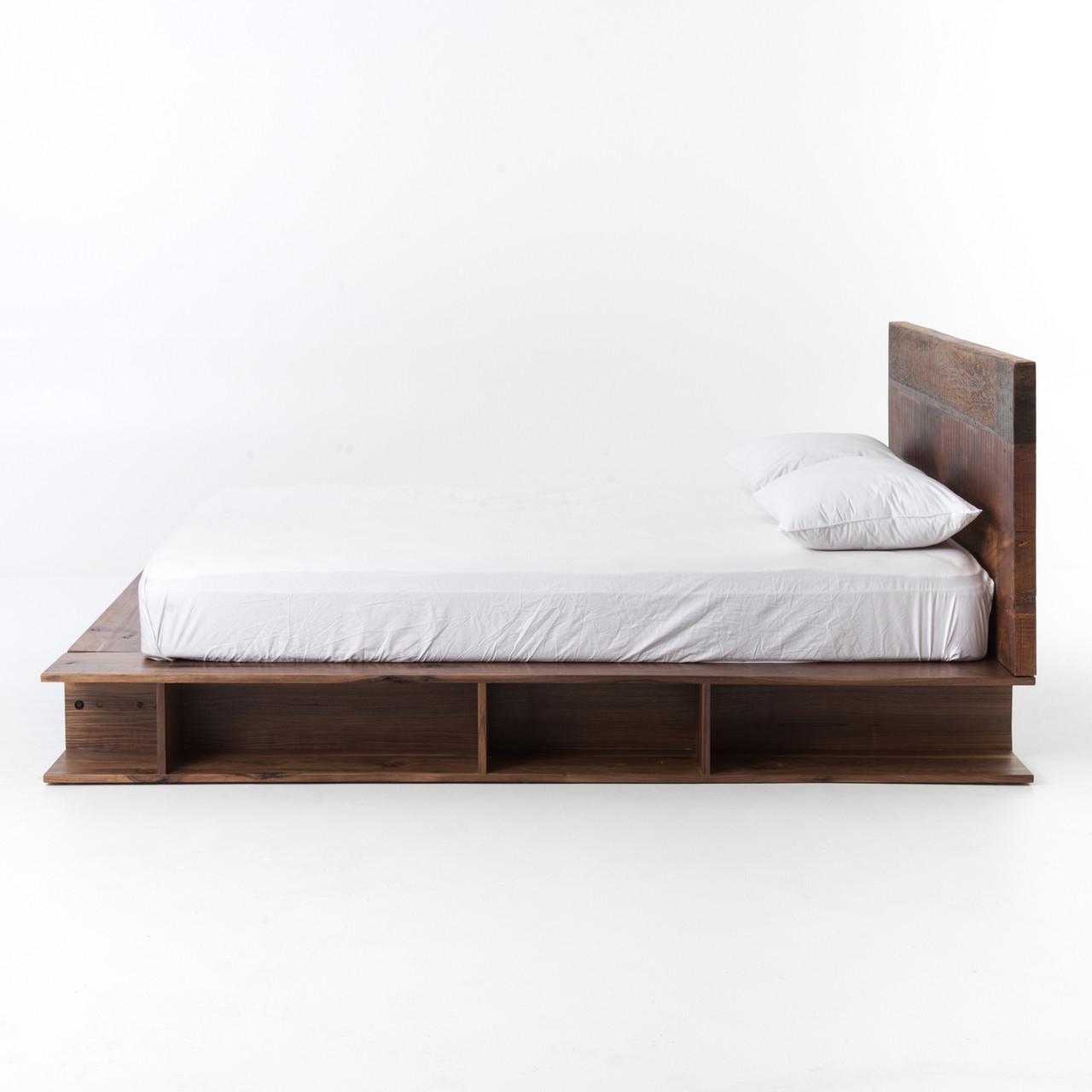 bonnie rustic reclaimed wood queen platform bed frame - Queen Platform Bed Frames
