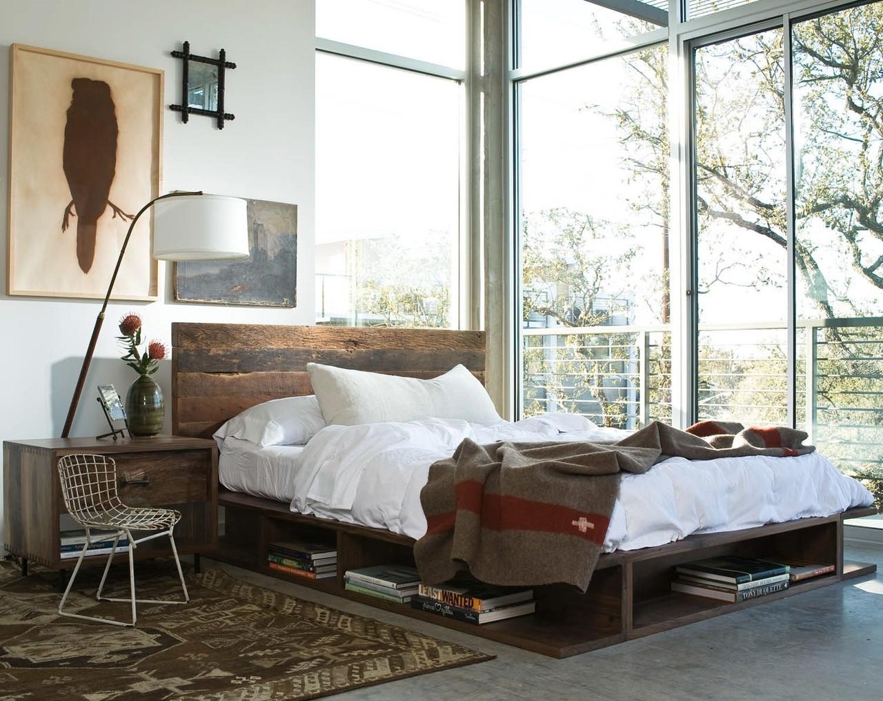 ... Bina Bonnie King Bed- Rustic Reclaimed Wood Platform Bed Frame ... - Bonnie Rustic Reclaimed Wood King Platform Bed Frame Zin Home