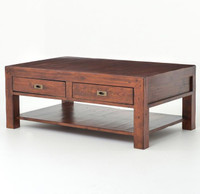 Parsons coffee table with 2 drawers
