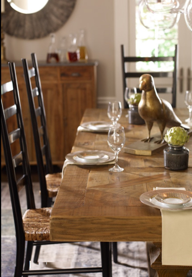English Castle Reclaimed Wood Trestle Dining Table 118\