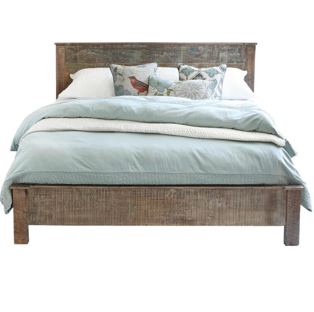 Hampton Rustic Teak Wood Queen Bed Frame Zin Home