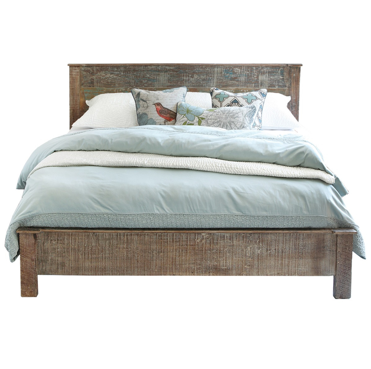 Hampton rustic teak wood king bed frame zin home Rustic bed frames