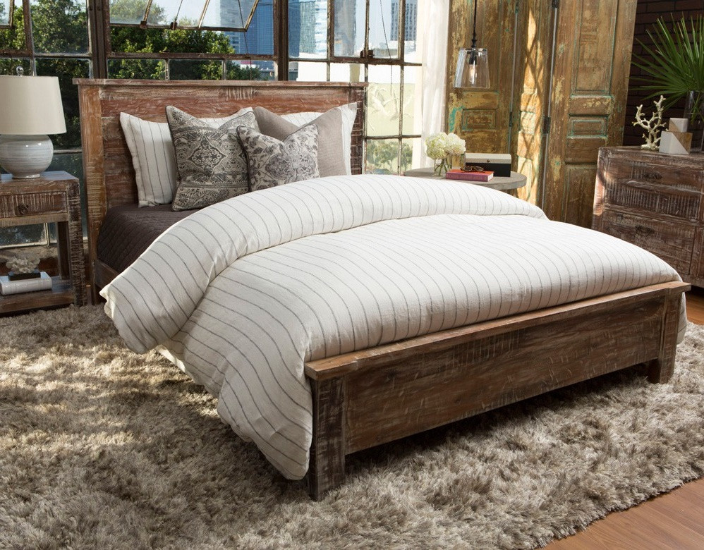 Hampton rustic teak wood california king bed frame zin home for Recycled timber beds