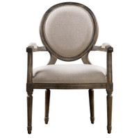 Louis Vintage Round Dining Arm Chair- Linen