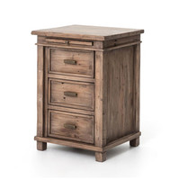 Sierra Reclaimed Wood Bedside Cabinet with 3 drawers