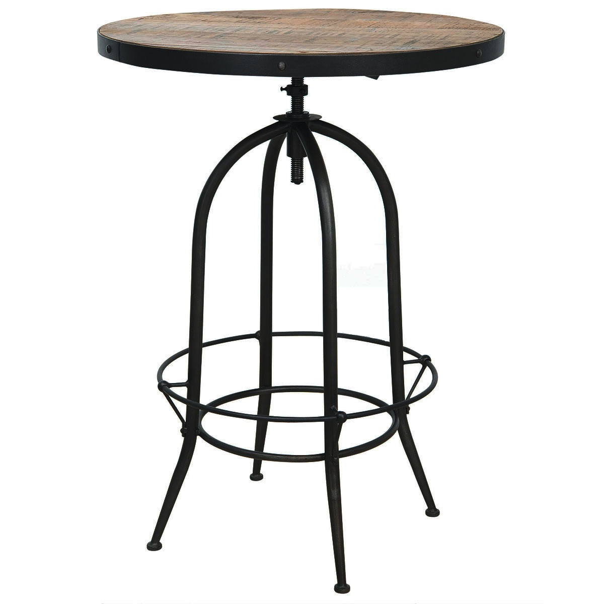 industria adjustable bristol pub table   zin home - industrial adjustable bristol pub table