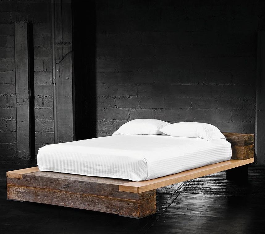 beam queen platform bed reclaimed railroad tie beds bina reclaimed wood hidalgo beam beds. Black Bedroom Furniture Sets. Home Design Ideas
