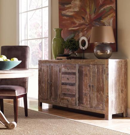 Hampton Rustic Teak Wood Buffet Sideboard with 4 Door 4 Drawers