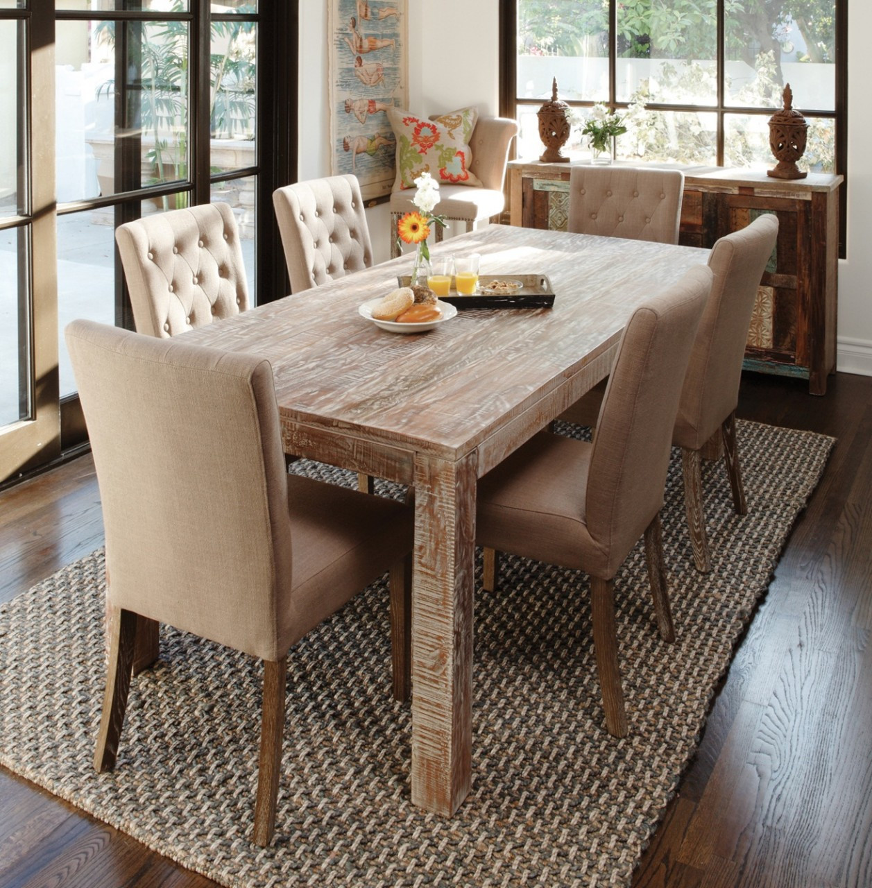 hampton farmhouse dining room table 72"