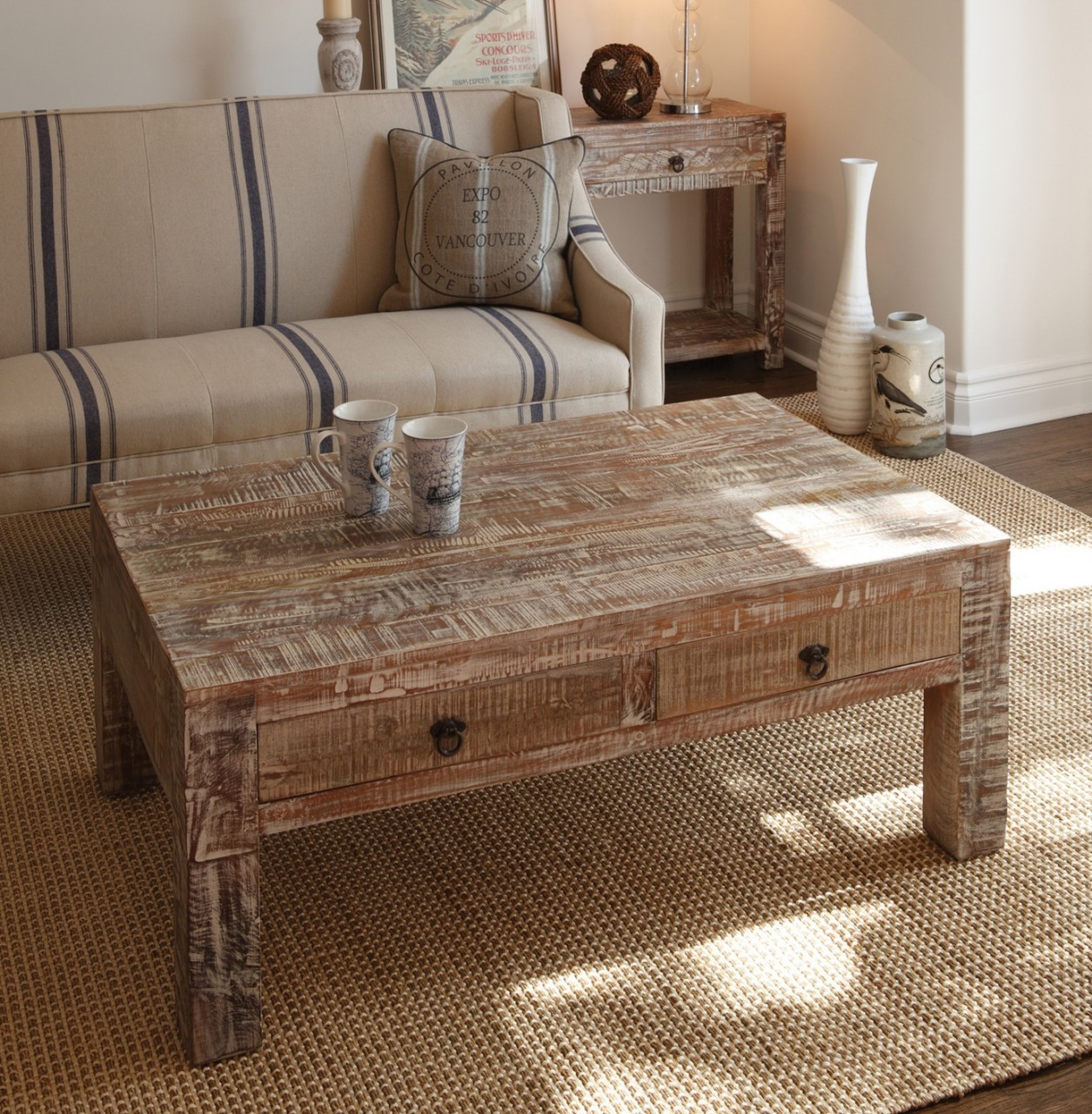 Hampton Reclaimed Wood Coffee Table With 2 Drawers