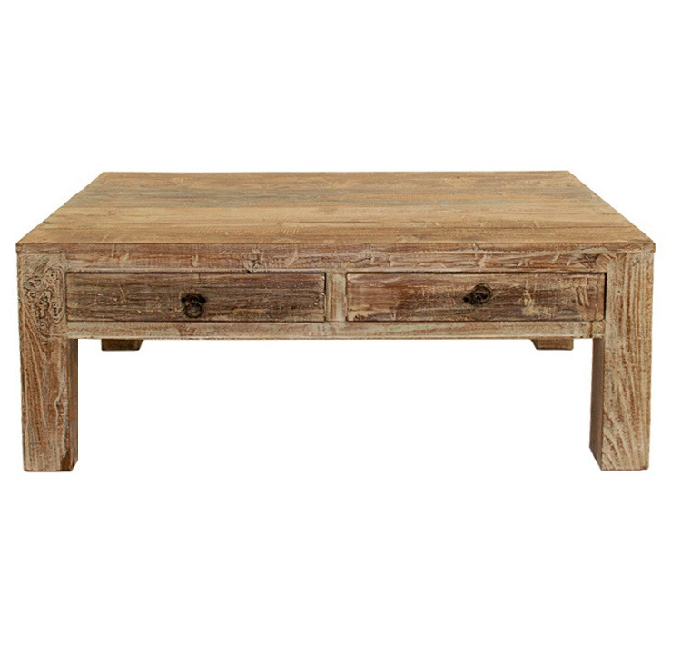 Reclaimed Wood Coffee Table With Drawers Hampton 2 Drawer Coffee