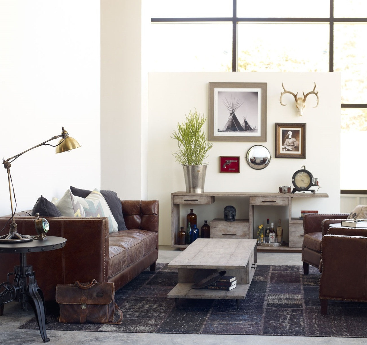 Abbott Vintage Cigar Tufted Leather Sofa Zin Home