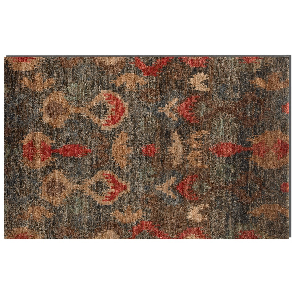hand knotted ikat blue  red area rugs  zin home -  ikat area rug