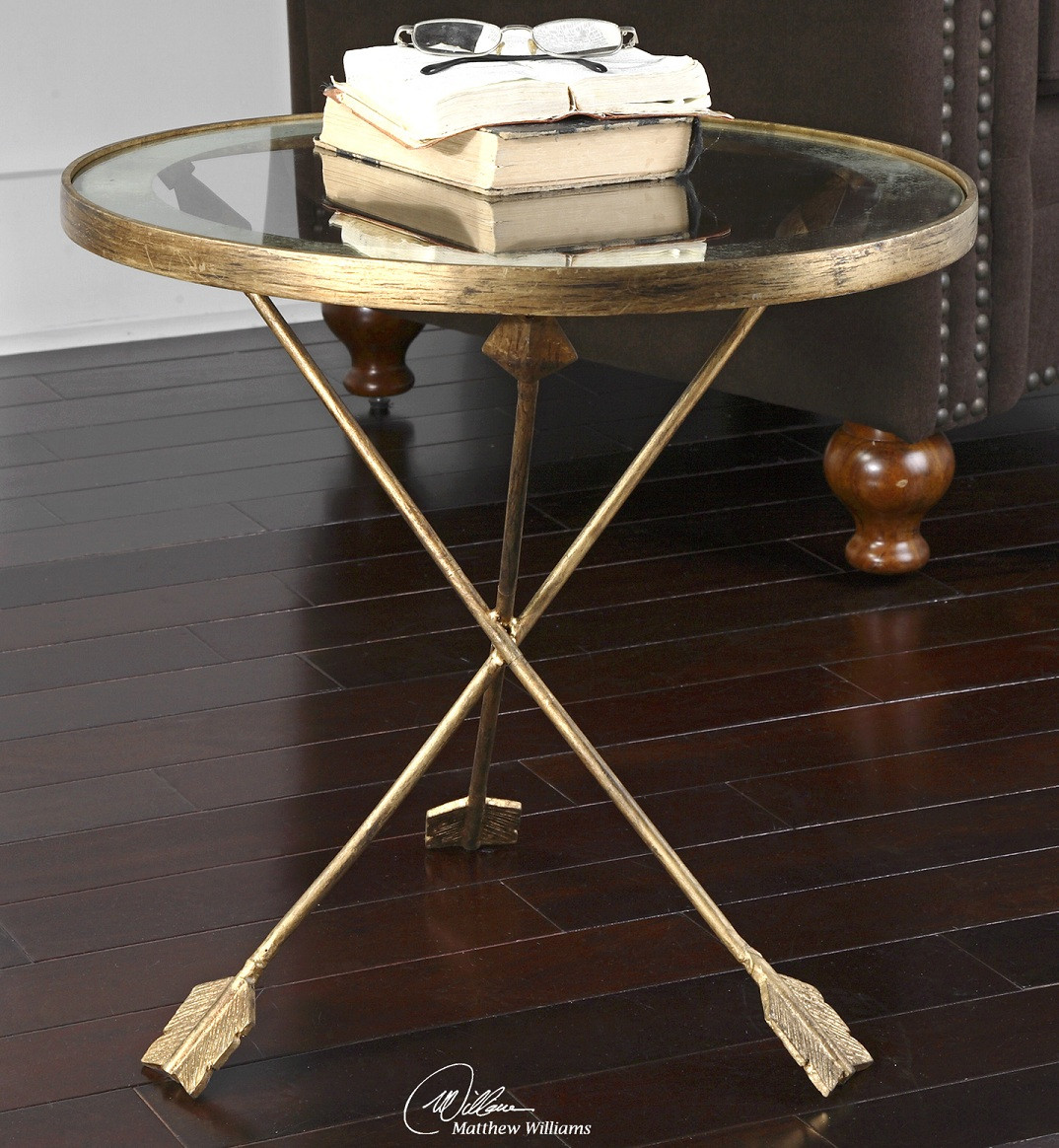 Slim round end table modern accent table with drawer calvin end table - Gold Round Side Table With Glass Top