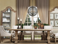 Kingdom Oak Wood Baluster pedestal dining table