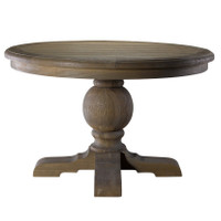 Kingdom Antique White Oak Round Pedestal Dining Table Zin Home