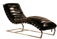 St. James Leather Chaise-Slate