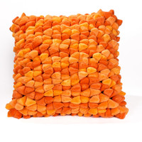 Pebble Chamois Pillow-Tangerine