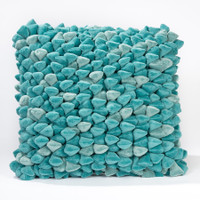 Pebble Chamois Pillow-Teal