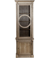 Parisian Vintage Oak Narrow Display Cabinet