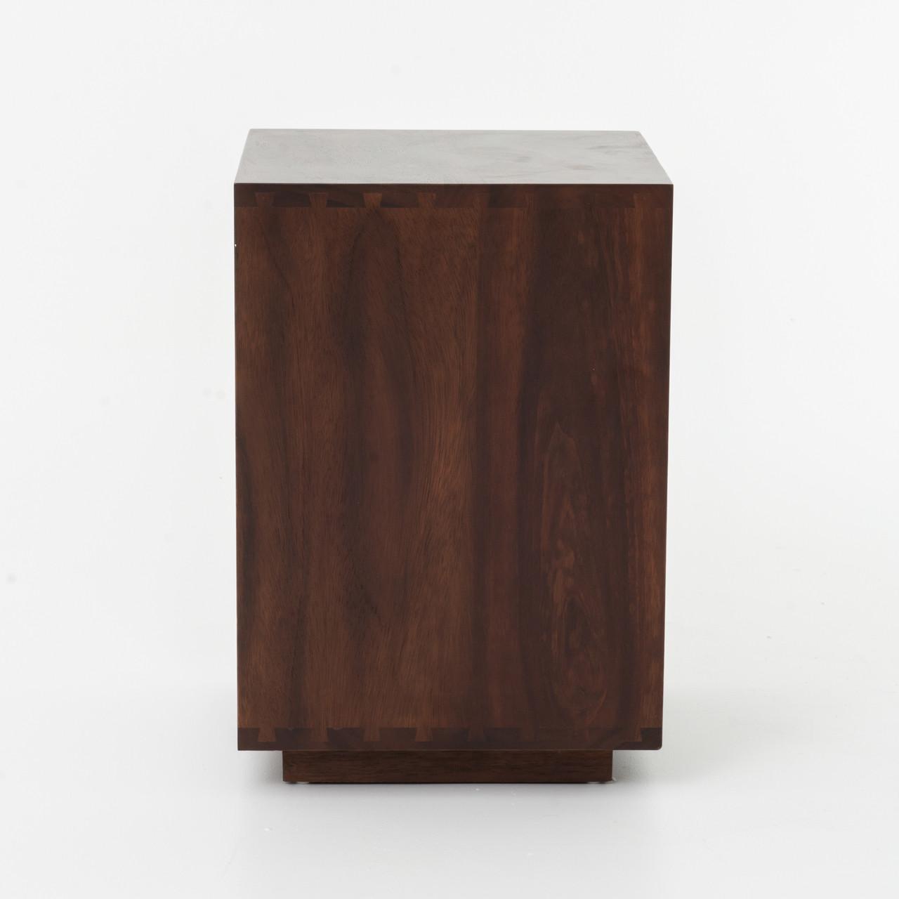 Bina Reclaimed Wood Mirrored Nightstand Left Zin Home