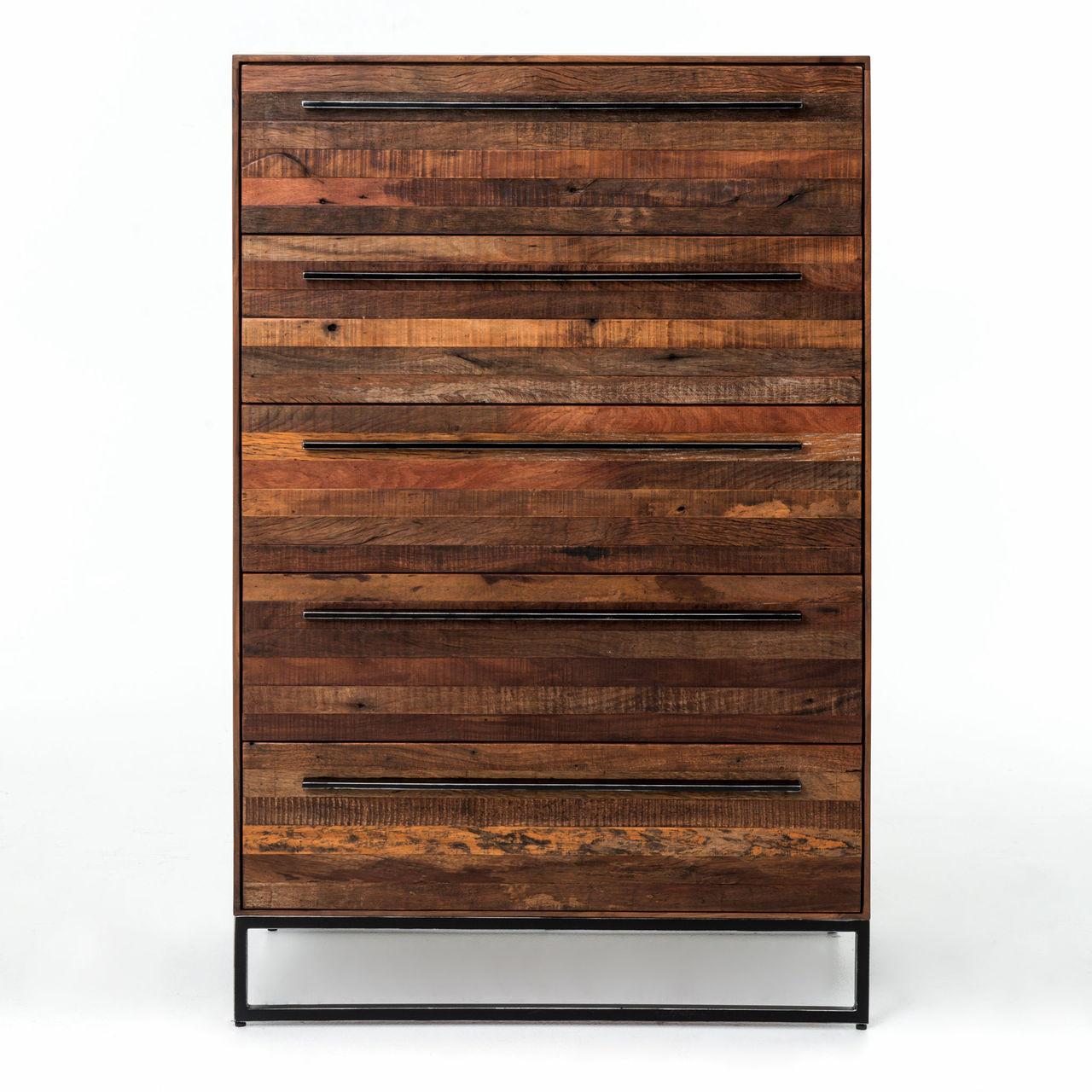 ... Emily Reclaimed wood 5 Drawer chest ... - Emily Reclaimed Wood Tall 5 Drawer Dresser Zin Home