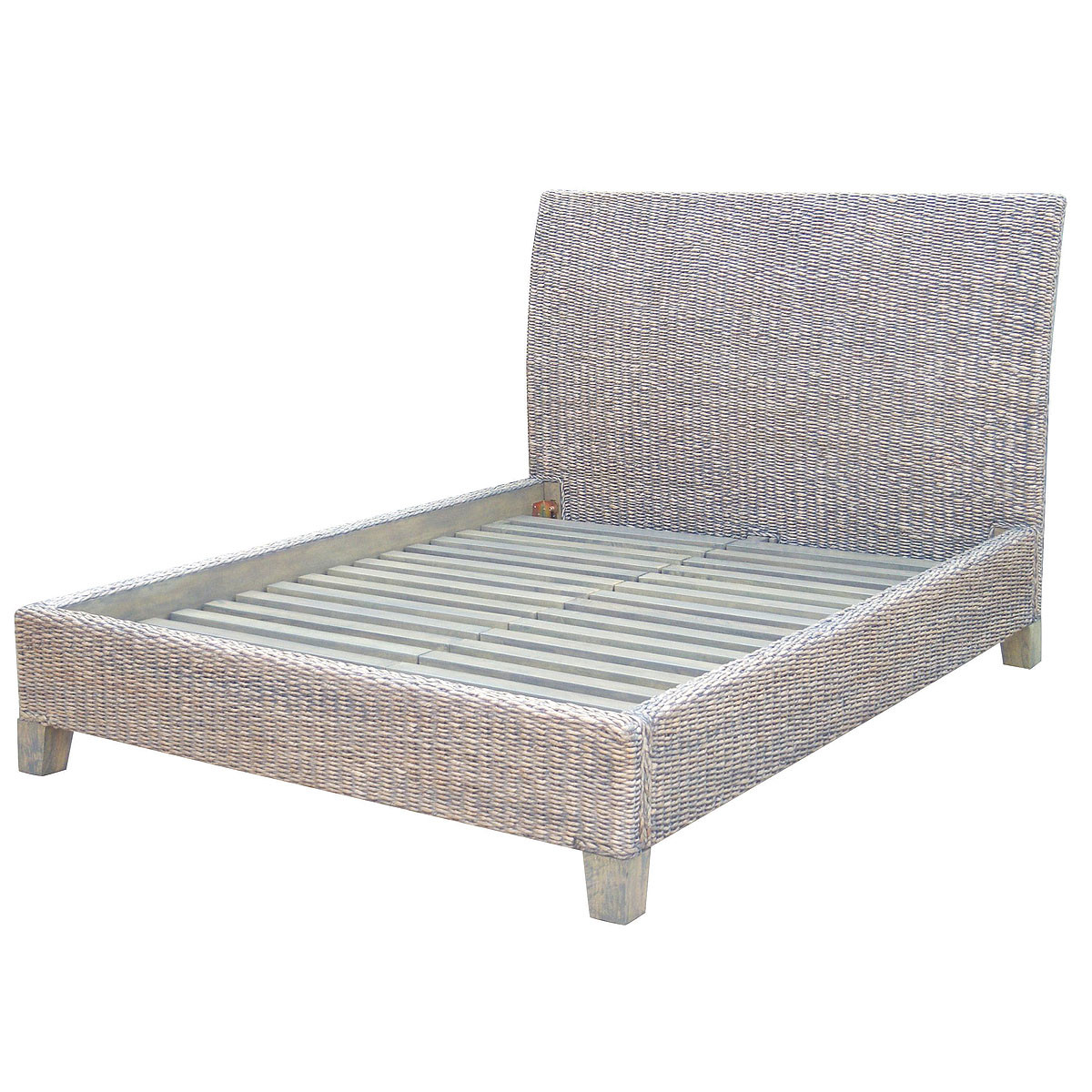 banana leaf woven platform queen bed  gray  zin home -  banana leaf woven platform queen bed  gray