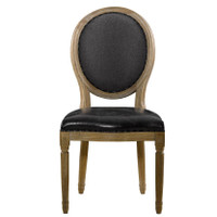 FRENCH VINTAGE LOUIS SLATE ROUND SIDE CHAIR