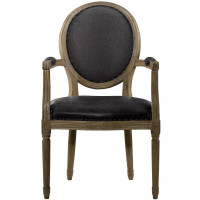 FRENCH VINTAGE LOUIS SLATE ROUND ARM CHAIR