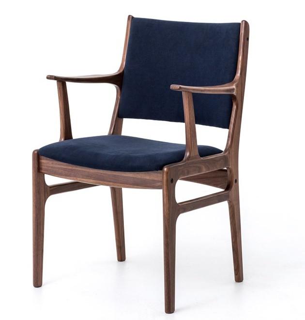 Rollins Modern Arm Chair Blue: Mid Century Modern Bina Dining ArmChair With Blue Canvas
