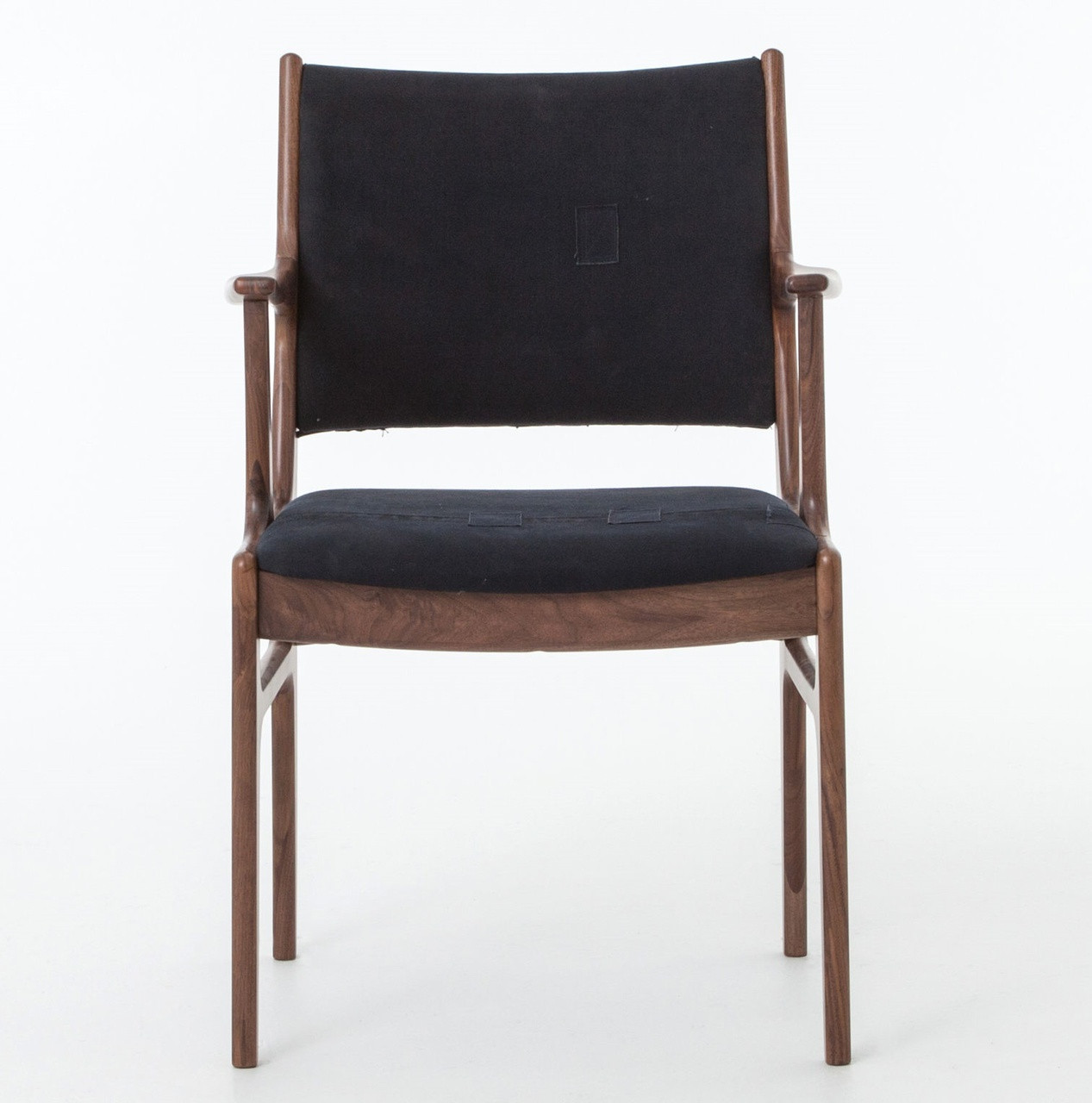 Mid Century Modern Bina Dining ArmChair With Blue Canvas Zin Home - Bina office furniture