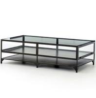Shadow Box Metal and Glass Coffee Table