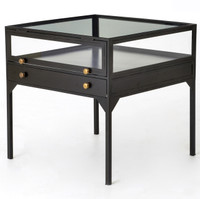 Shadow Box Industrial Metal and Glass Side Table