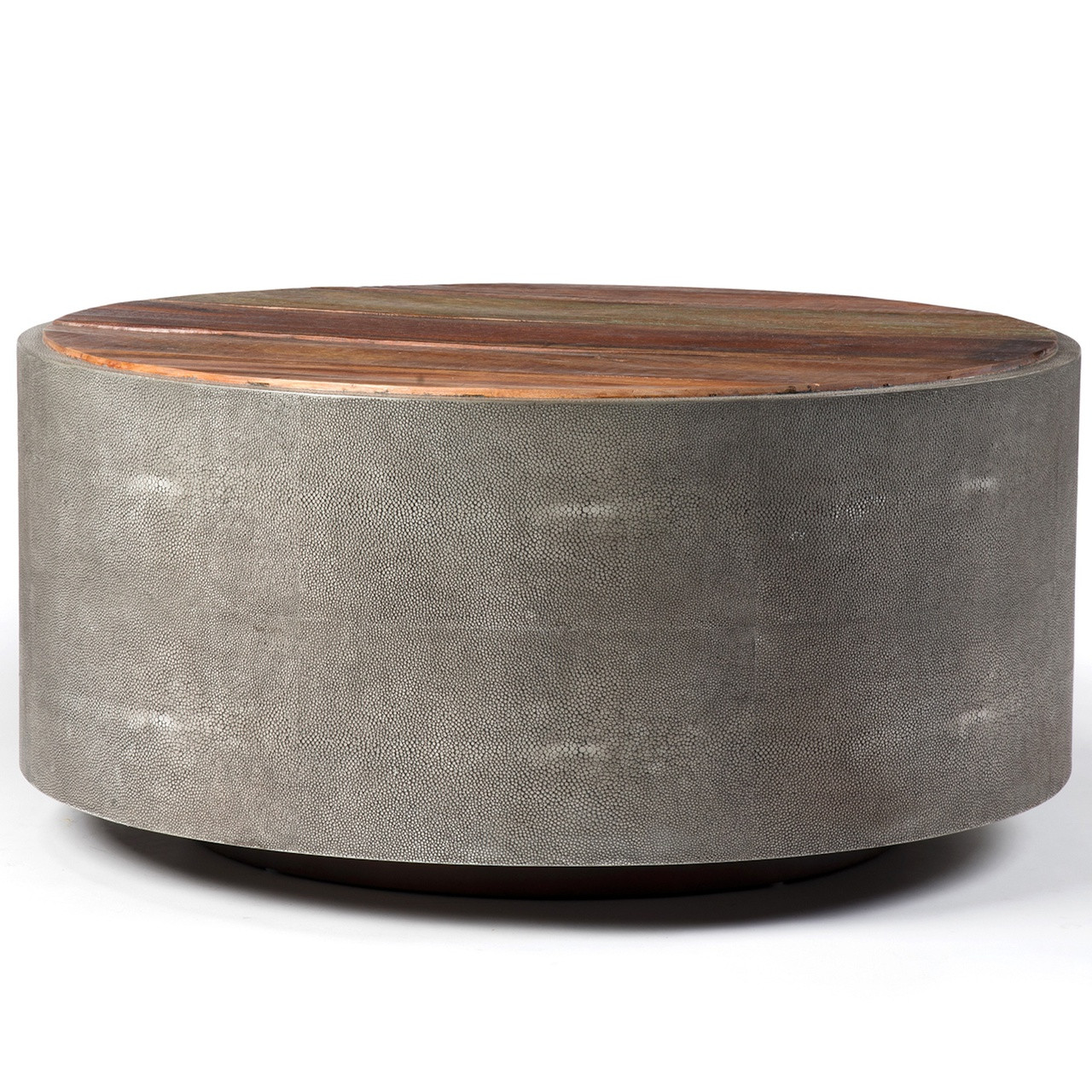 "round 38"" reclaimed wood + shagreen coffee table 