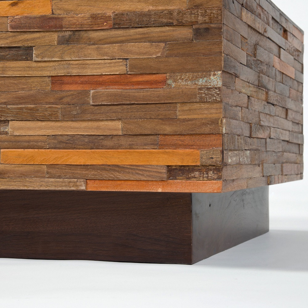 Suffolk Simplicity Reclaimed Wood Square Industrial Coffee: Landon Mixed Wood Square Coffee Table