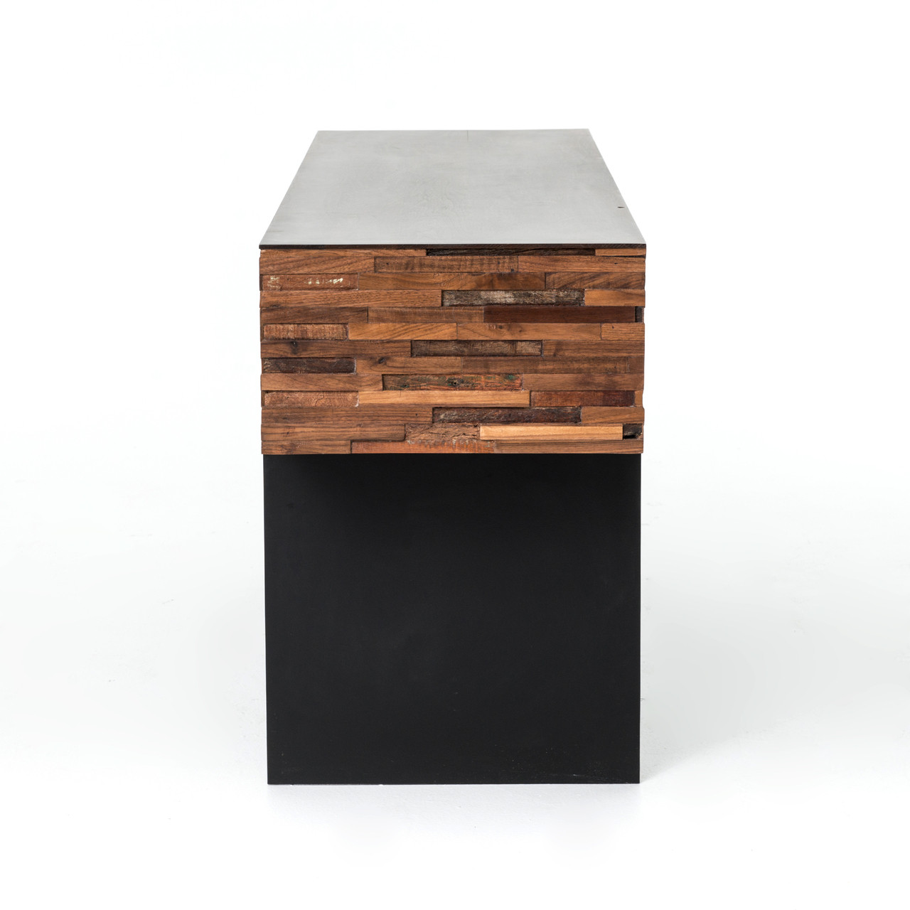 Suffolk Simplicity Reclaimed Wood Square Industrial Coffee: Landon Mixed Reclaimed Wood Console Table