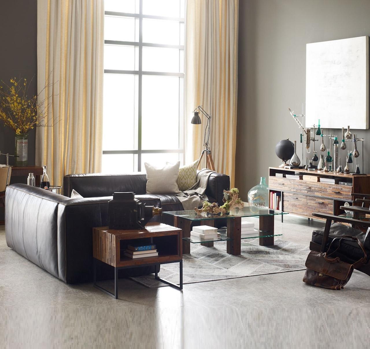 Nolita Saddle Black Leather Modular Sectional Sofa Zin Home