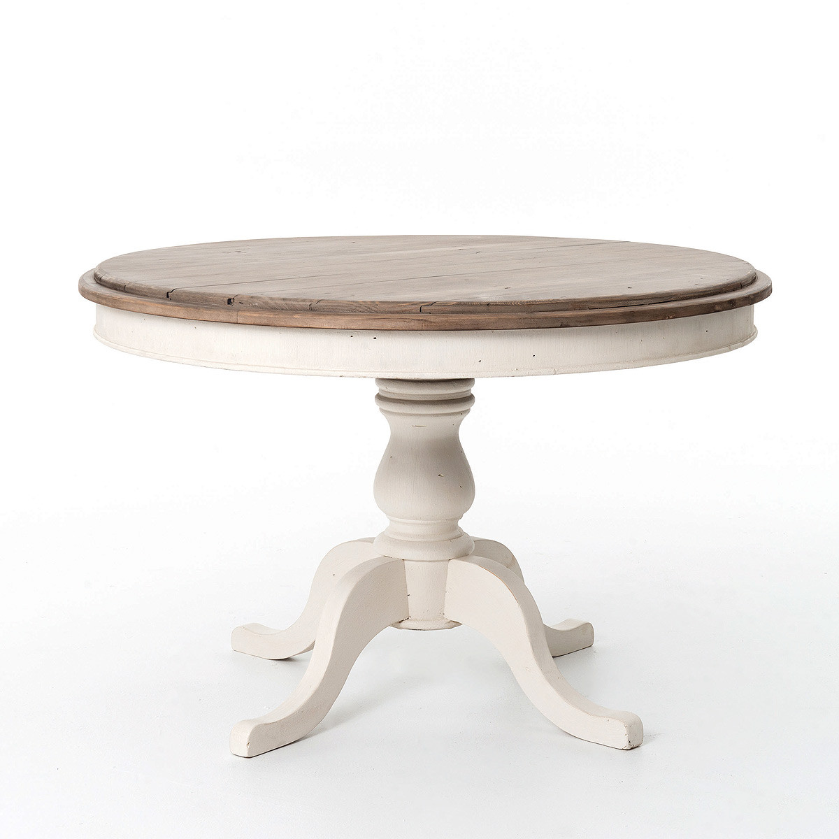 Cottage round pedestal white kitchen table 47 zin home - Pedestal kitchen tables ...