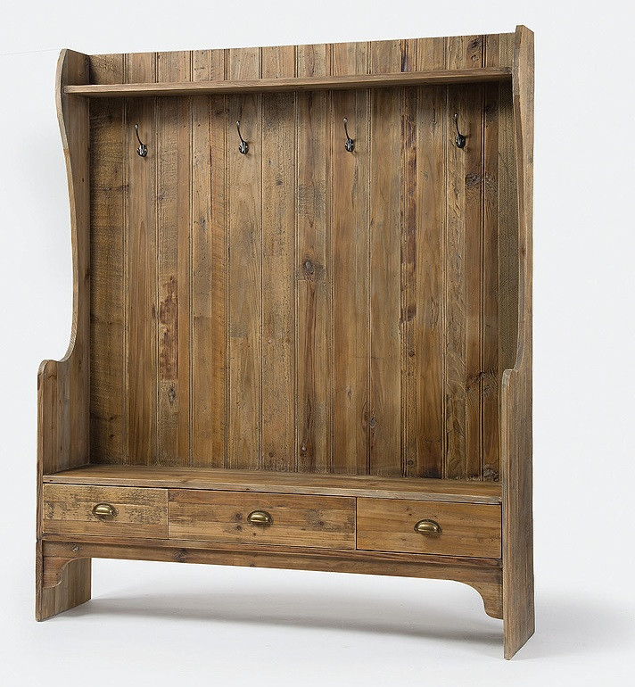 Concord Rustic Wood Entry Bench With Storage And Coat Rack