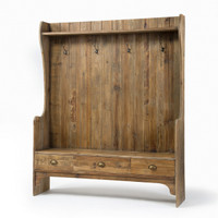 Reclaimed Wood Entry Bench with Storage and Coat Rack